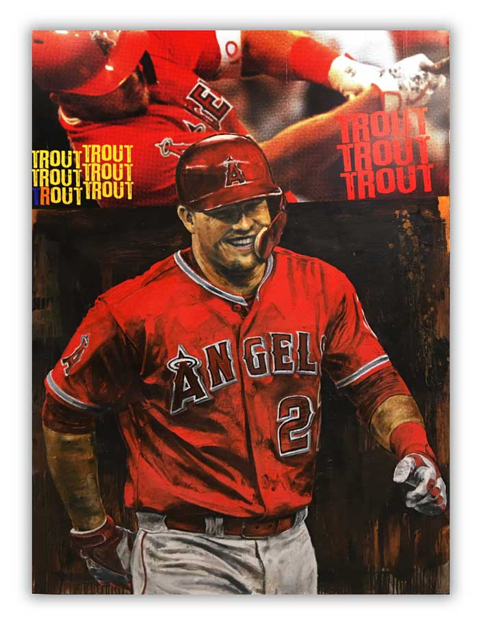 Mike Trout painted by aritst to baseballs greats Stephen Holland.