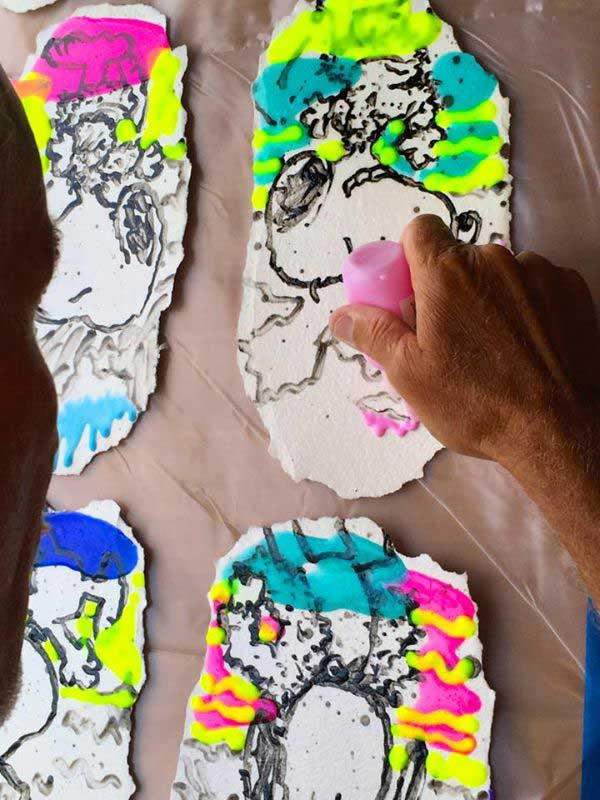 Tom Everhart painting Water Lilies in Tahiti studio